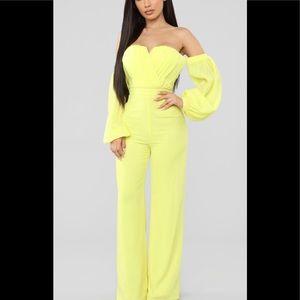 Yellow Chiffon Jumpsuit, NWT